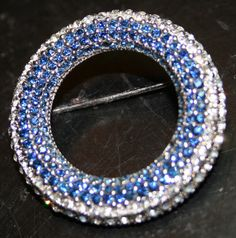 Vintage signed Ciner rhinestone pin blue and white by lbjool, $48.00