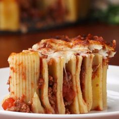 Kick your spaghetti dinner up a notch. Best Pasta Dishes, Food Dishes, Italian Dishes, Italian Recipes, Rigatoni Pie, Beef Recipes, Cooking Recipes, Pasta Recipes, Healthy Recipes