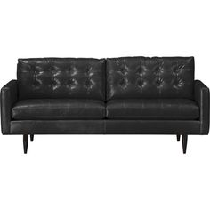 """Petrie Leather 76"""" Apartment Sofa in Sofas   Crate and Barrel"""