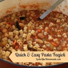 pI have seen many Pasta Fagioli (pronounced Fah-jool) recipes over the years. I have one for the crock pot that is good, but sometimes you need something hearty but fast. This simple pasta fagioli recipe one fits the need. You can also let it simmer on a back burner for /p
