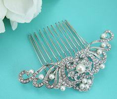Art Deco Pearl Wedding Comb Rhinestone by AllureWeddingJewelry