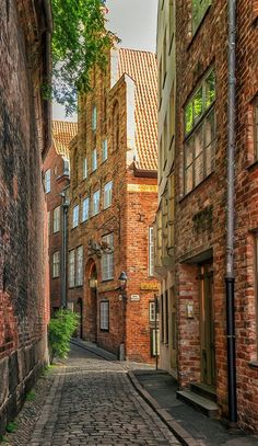 A narrow street in Lübeck, Schleswig-Holstein, Germany