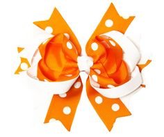Orange and White Grosgrain Hair Bows by HolidayPrincess on Etsy