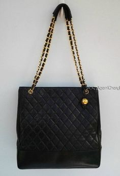 CHANEL black lambskin matelasse quilted extra large tote bag gold chain charm #Chanel #TotesShoppers