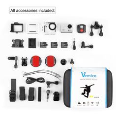 Navitech 9 in 1 Action Camera Accessory Combo Kit and Rugged Grey Storage Case Compatible with The Veho Muvi K2 pro Action Camera