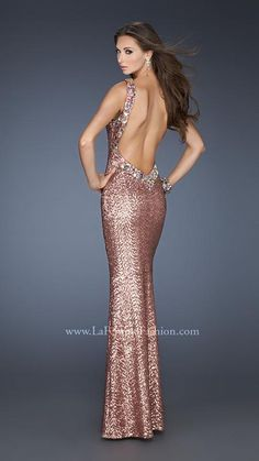 {La Femme 18742 | La Femme Fashion 2013} - La Femme Prom Dresses - Jeweled - Halter Neck - Open Back - Sequins - Red Carpet - Long Prom Dress - Pageant - Cruise
