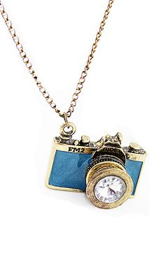 New Arrival Individual Vintage Blue Camera Necklace 5.08