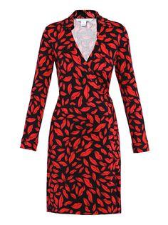 DVF Jeanne red lip print wrap dress