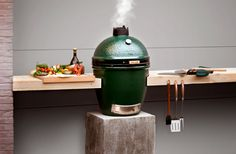 A unique setup for the big green egg. This is the only way to BBQ. At Emmett Energy at Resource Center/Michigan Design Center Table Big Green Egg, Big Green Egg Large, Big Green Egg Outdoor Kitchen, Green Egg Grill, Outdoor Kitchen Design, Green Eggs, Outdoor Kitchens, Kamado Joe, Bbq Area