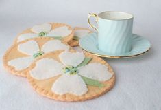 This item is unavailable - Dogwood Flower Felt Coasters, MugMats Set of Four, P. - This item is unavailable – Dogwood Flower Felt Coasters, MugMats Set of Four, Pale Peach and Whi - Felt Diy, Felt Crafts, Fabric Crafts, Diy Crafts, Dogwood Flowers, Felt Flowers, Fabric Flowers, Felt Coasters, Jw Gifts