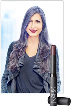 """Bazaar Tested: Fall's Dark Lip -  Raveena Parmar, Contributor - """"My lips tend to be bare, so a darker lip is definitely out of my comfort zone, but with NARS' high-impact plum I'm diving in headfirst! It's perfect for a New York night of drinks and dancing."""" NARS Pure Matte Lipstick in Volga."""