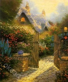 Thomas Kinkade Hidden Cottage Ii print for sale. Shop for Thomas Kinkade Hidden Cottage Ii painting and frame at discount price, ships in 24 hours. Cheap price prints end soon. Witch Cottage, Cottage Art, Thomas Kinkade Art, Kinkade Paintings, Oil Paintings, Thomas Kincaid, Art Thomas, Beautiful Paintings, Landscape Art