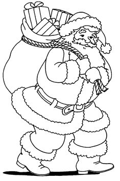 Christmas Coloring Pages - Santa Claus Animal Coloring Pages, Coloring Book Pages, Printable Coloring Pages, Coloring Pages For Kids, Free Coloring, Christmas Images, Christmas Colors, Christmas Crafts, White Christmas