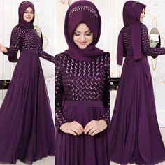 En Ucuz 2018 Abiye Elbise Modelleri www. Long Dress Design, Bridal Dress Design, Wedding Hijab Styles, Wedding Dress Trends, Islamic Fashion, Muslim Fashion, Abaya Fashion, Fashion Dresses, Hijab Evening Dress