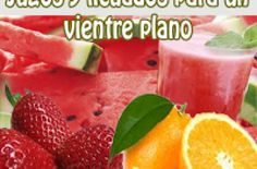 Jugos y licuados para un vientre plano - Recetas de jugos para adelgazar Watermelon, Strawberry, Fruit, Tips, Food, Smoothie Recipes, Easy Recipes, Snacks, Cooking