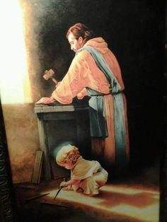 """Destiny"" by an artist who wishes to remain anonymous, beautifully depicts Jesus as a young boy in Joseph's carpenter shop. The three nail spikes and the shadow of a cross foretell the events to come; the destiny Christ that came to fulfill. <3"