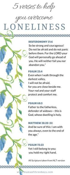 Bible verses on loneliness| feeling alone| verses of comfort| free printable