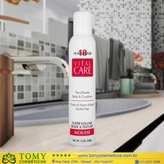Vital Care Super Volume Mousse é composto por queratina e filtro Solar que  auxilia na proteção 44708c49d7