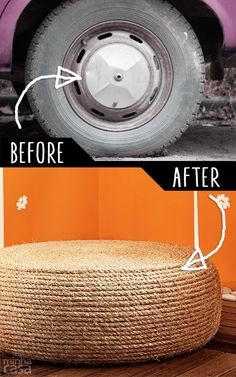 diy furniture hacks an old tire into a rope ottoman cool ideas for creative