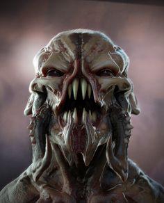 creature artwork by Dusk Thirteen Arte Horror, Horror Art, Alien Creatures, Mythical Creatures, Foto Tokyo Ghoul, Beast Creature, Alien Concept Art, Demon Art, Alien Art