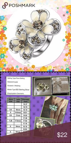 Sterling Silver Plated Rhinestone Flower Ring Brand new in box 3 sizes choose from 17mm,18mm and 19mm please compare your size with size chart in 2nd photo Jewelry Rings