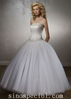 Amazing Ball Gown Strapless Embroidery Satin and Organza Wedding Dress