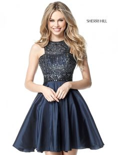 HIgh-Neck Sparkle 2017 Sherri Hill Homecoming Gown. Available at Bridal and Formal's Club Dress Cincinnati OH @bfclubdress (513)821-6622
