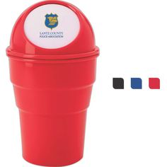 Mini auto trash can. Great for frequent drivers. Reduces odor in your vehicle. Sturdy lid assures the trash is sealed tightly. Flip lid.