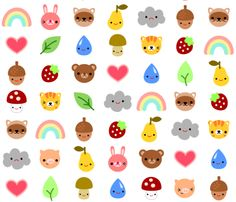 Forest friends: LARGE SCALE fabric by berrysprite on Spoonflower - custom fabric