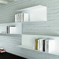 The Icaro storage range offers white wall mounted storage with a clean, contemporary style.