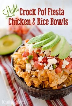 Light Crock Pot Fiesta Chicken & Rice Bowls loaded with chicken, brown rice and pico de gallo for a healthy dish you can throw in your slow cooker for an easy and delicious meal