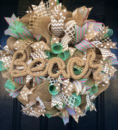 Burlap and Aqua Beach Wreath  Beach Wreath  by AllMeshedUp2014, $75.00