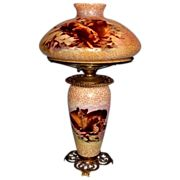 """VERY RARE Ansonia Hanging Gone with the Wind Banquet Oil Lamp ~10 1/2"""" SHADE~Masterpiece Breathtaking Original """"Sanded"""" Shade ~ Outstanding Fancy Ornate Frame~ Original Condition ~Original Parts ~ Collector Piece ~ Master Artistry"""