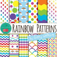 "Rainbow Digital Paper ""Rainbow Patterns"" scrapbook collage sheets in bright colors, polka dots, chevron printable digital paper supplies,"