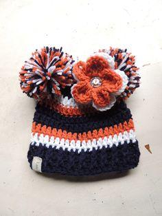 Crochet Football hat, Luv Beanies, Denver Bronco inspired, Denver Bronco, hats, Colorado hats, Bronco beanie, girl football hats, baby hats by LuvBeanies on Etsy https://www.etsy.com/listing/471241172/crochet-football-hat-luv-beanies-denver
