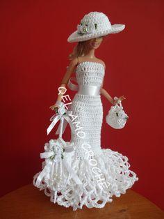 #Vestido #Dress #Crochet # #Chapéu #Hat #Sombrinha #Umbrella #Barbie #Doll #RaquelGaucha