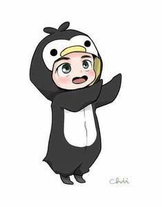 Kyungsoo the Little Penguin -EXO Kyungsoo, Exo Chanyeol, Chibi Exo, Exo Cartoon, Anime Bebe, Exo Stickers, Exo Anime, Exo Fan Art, Exo Lockscreen