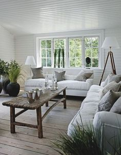 I would love this room - but more plants and one of those couches needs to be a chaise lounge!