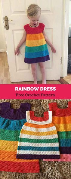 Crochet rainbow dress for girls Crochet Toddler, Baby Girl Crochet, Crochet Baby Clothes, Baby Blanket Crochet, Crochet For Kids, Knit Or Crochet, Crochet Dresses, Diy Tricot Crochet, Crochet Mignon