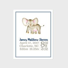 Personalized birth stats elephant includes all birth info and personalized birth stats elephant includes all birth info and colors can be customized many colors available perfect keepsake gift for any baby negle Gallery