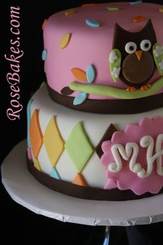 "fondant owl template | Whoo Loves You?"" Owl Baby Shower Cake… take 2!"