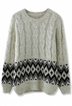 Cable Knit Zig Zag Sweater