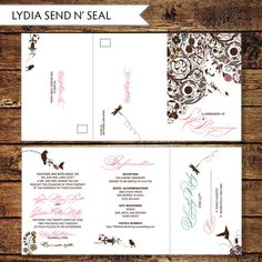Print At Home Seal And Send Wedding Invite, Printable Floral Send Nu0027 Seal  Wedding