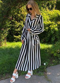 ecd00fc2da5 US $20.3 42% OFF|SHEIN Black And White Stripe V Neck Belted Plus Size Maxi  Dress Spring Fall Office Lady High Waist Split Side Striped Dresses-in  Dresses ...