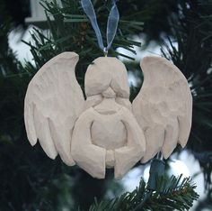 Angel Woodcarved ornament Large Basswood by ePaperCuts on Etsy