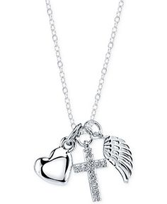 Inspirational Angel Wing, Cross, and Heart Pendant in Sterling Silver