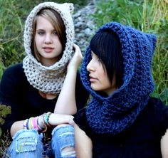 The Fishermans Hood cowl Womens winter scarf mens Navy Nautical Blue