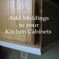 Remodeling Kitchen Cabinets How to add moldings to regular cabinets for an upgraded feel. - How to add moldings to your kitchen cabinets to make them more stylish. Kitchen Cabinet Molding, Cabinet Trim, Oak Kitchen Cabinets, Painting Kitchen Cabinets, Kitchen Redo, Kitchen Ideas, Kitchen Designs, 10x10 Kitchen, Kitchen Inspiration
