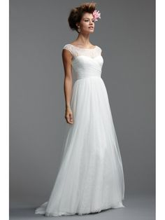 A-line Court Train Lace and Tulle Wedding Dresses