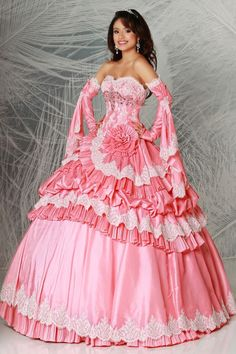 Lovely&Sweety Quinceanera Dresses Sweetheart Ball Gown Pick Up Layered Skirt